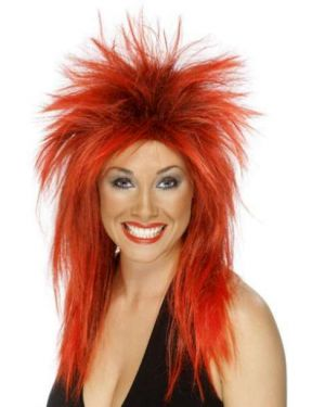 80's Ladies Rock Diva Fancy Dress Wig Red/Black
